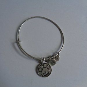 Alex and Ani Pet Paw Print Silvertone Bracelet